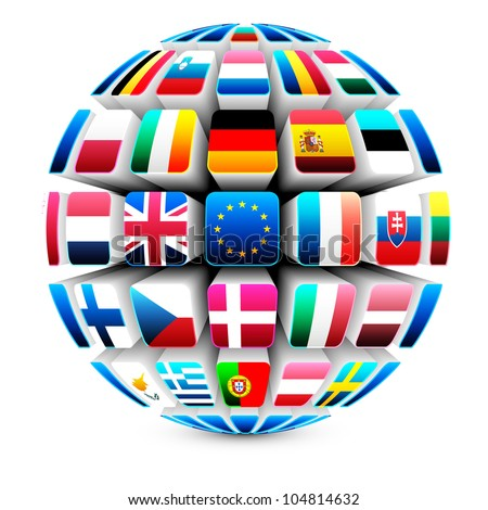 3d sphere with 27 european union flags vector