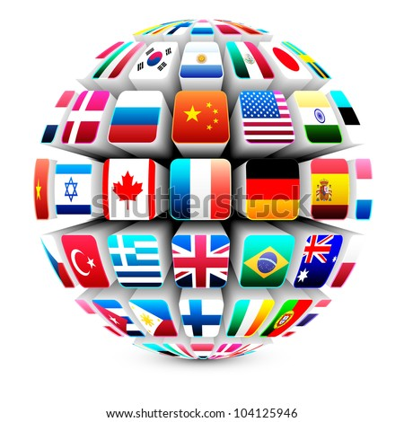 3d sphere with world flags vector