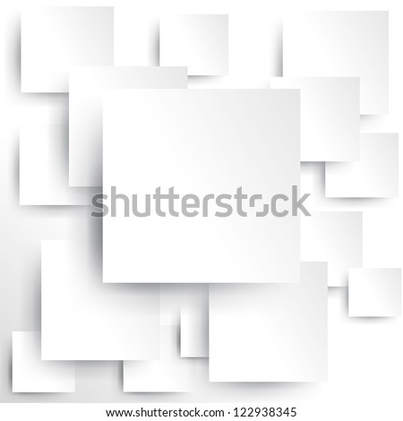 3D Square geometric element on white paper background texture pattern with shadow, create by vector