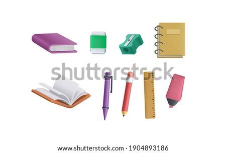 3D stationery for education, school and work. 3D Book, pen, pencil, notebook, shaperner, ruler, highlighter, marker vector.