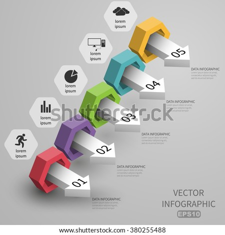 3d steps increase data business infographics template