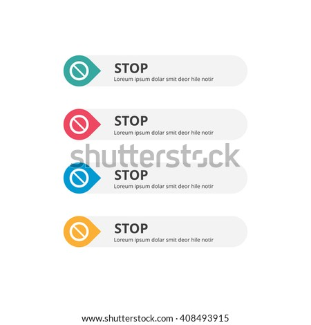 3d Stop Button set with icon. beautiful text button with icon. Orange Button, Blue Button, Red Button, Turquoise button. Call to action icon button. Flat Button Set. Vector Illustration
