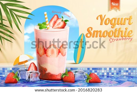 3d strawberry yogurt smoothie promo. A glass of strawberries milkshake with ice cubes in swimming pool