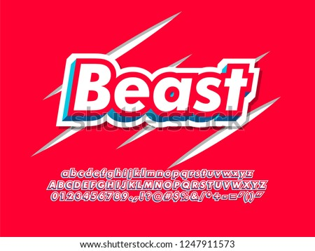 3d strong red beast font typeface for modern brand logo type, character alphabet for clothing apparel design and merch
