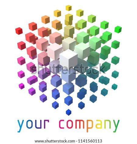 3d style vector logo design