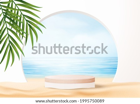 3d summer background product display platform scene with sea beach platform. sky cloud summer background vector 3d render on the ocean display. Wood podium on sand beige cosmetic product display stand