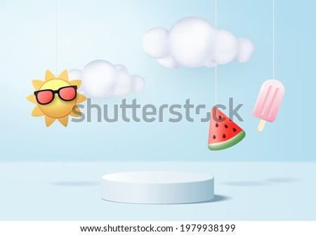 3d summer background product display podium scene with cloud platform. background summer vector 3d render with sun, ice cream, watermelon on podium. stand show cosmetic product display blue studio