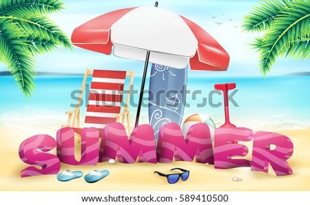 3d summer beach vector design