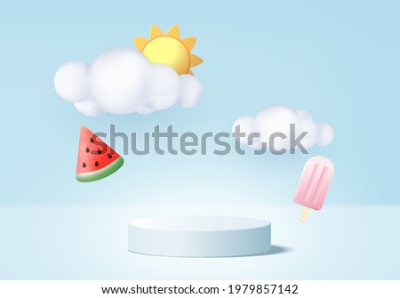 3d summer blu background product display podium scene with cloud platform. background summer vector 3d render with sun, ice cream, watermelon on podium. 3d stand show cosmetic product display blue