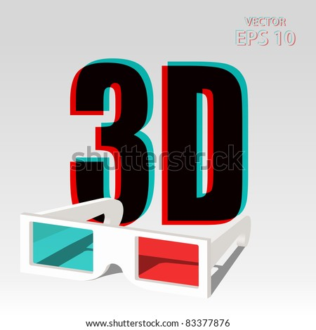 3D symbol with chromatic aberration and three dimensional glasses