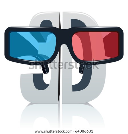 3D symbol with glasses