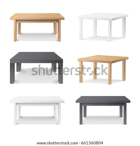 3D Table Set Vector. Empty Wooden, Plastic, White, Black Table. Realistic Desk Stand. Isolated Furniture, Platform. Template For Object Presentation. Vector Illustration.
