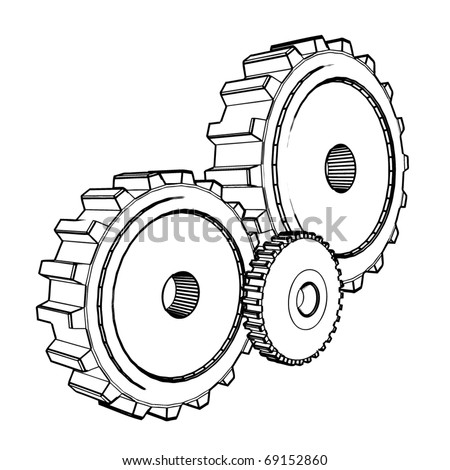 3d technical drawing of cogwheels - vector