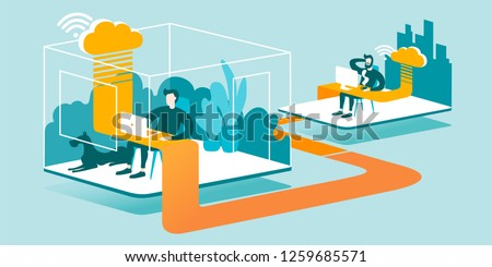 3D Technical Illustration explaining how cloud computing enhancing our ability to work anywhere. Isometric layout explaining the principle of remote work in the office through the cloud.