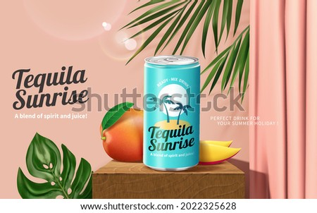 3d tequila sunrise cocktail ad