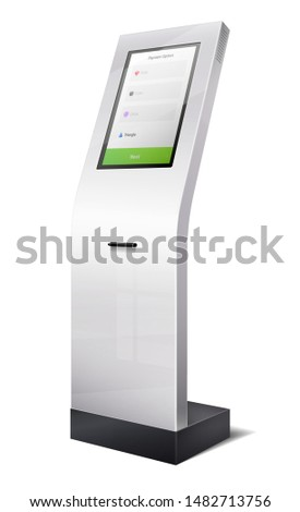 3d terminal electronic queue and information panel. ATM panel with cash in bank.