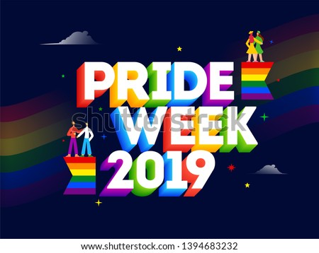 3D text of Pride Week 2019 with gay and lesbian couples on blue background for LGBTQ Community.