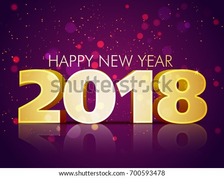 3d text 2018 on shiny purple background happy new year concept