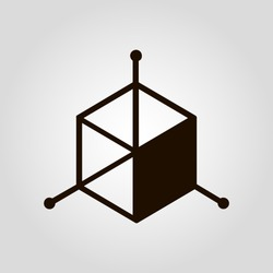 3D (three D) cube isolated flat vector icon