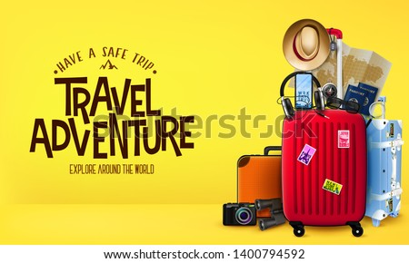 3D Travel Adventure Realistic Banner in Yellow Background Front View with Luggage Bags, Suitcase, Camera, Binoculars and Map