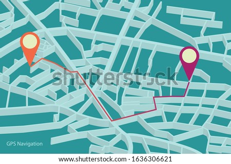 3d travel gps map or location navigator vector illustration. gps tracking map. Track navigation pins on street maps, navigate mapping technology and locate position pin