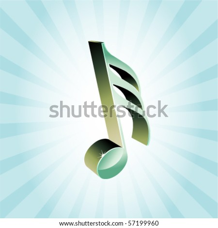 3D treble clef vector illustration on a cyan ray background - stock vector