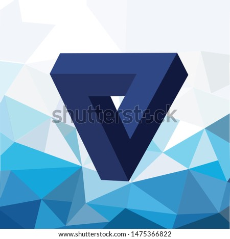 3D triangle logo on the triangle background