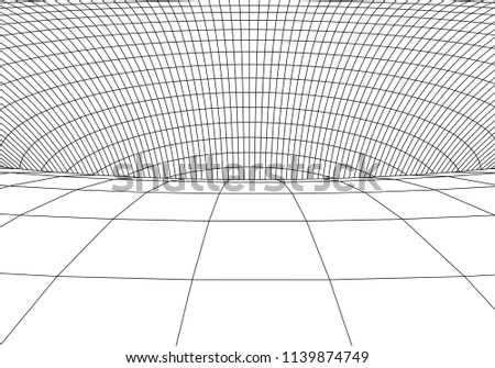 3D tunnel. Vector abstract lines pattern. Optical illusion. Abstract Wormhole Science. Grid. Vector illustration