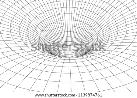 3D tunnel. Vector abstract lines pattern. Optical illusion.Tunnel or wormhole.Grid texture. Vector illustration