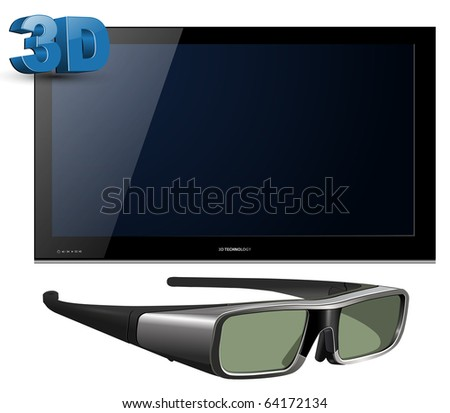 3D TV led with glasses - detailed vector illustration.