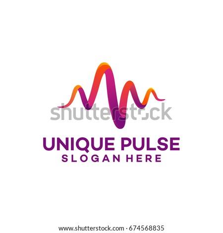 3d Unique Pulse Logo template designs vector illustration