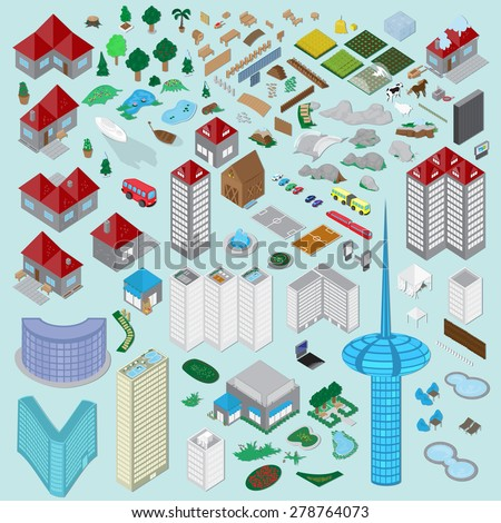 3d urban city and village icons