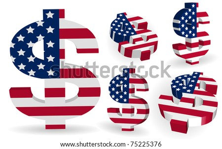 3D US dollar signs with USA flag