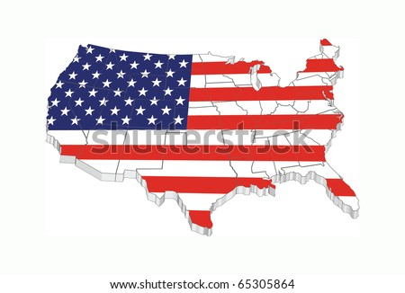 3D USA flag map with states