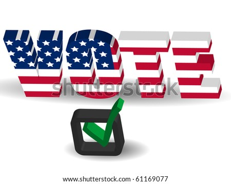 3d USA flag Vote sign with check mark - stock vector