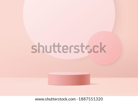 3d valentine background products minimal podium on pink floor platform. background vector 3d rendering with podium. gold stand for show products. Stage showcase on stand pink rose in studio