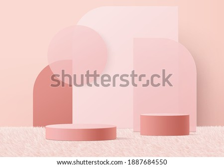 3d valentine background products minimal podium on wool carpet platform. background vector 3d rendering with podium. gold stand for show products. Stage showcase on pedestal pink wool carpet studio