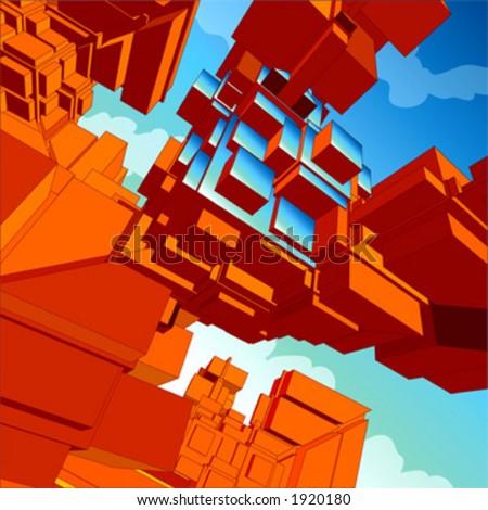 Auszug Hintergrund des Vektor 3D, mit technologischem,futuristischem Aroma