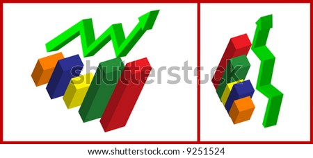 3d vector Business Graph