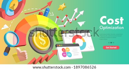 3D Vector Conceptual Illustration of Cost Reduction, Falling Rate of Profit, Price Minimising, Dollar Rate Decrease.