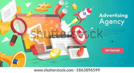 3D Vector Conceptual Illustration of Digital Marketing Agency, Advertising Campaign.