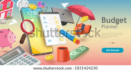 3D Vector Conceptual Illustration of Family Budget Management, Mobile App for Financial Calculations and Planning.