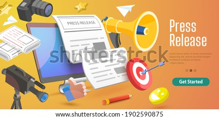 3D Vector Conceptual Illustration of Internet Press Release, News Service, Digital Marketing Campaign.