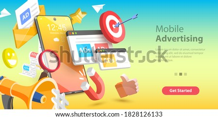 3D Vector Conceptual Illustration of Mobile Advertising, Social Media Campaign, Digital Marketing.