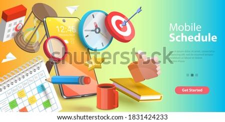 3D Vector Conceptual Illustration of Mobile Scheduling App, Online Time Management Service.