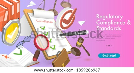 3D Vector Conceptual Illustration of Regulatory Compliance and Standards, Policies and Regulations. Сток-фото ©