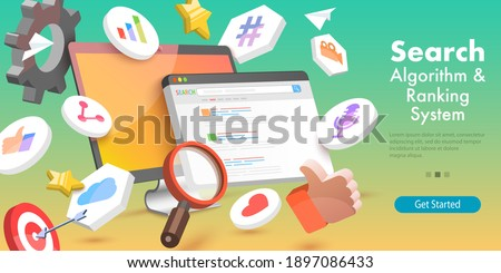 3D Vector Conceptual Illustration of SEO Algorithm, Web Search Engine, Page Optimization, Digital Marketing.