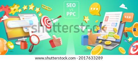 3D Vector Conceptual Illustration of SEO Vs PPC, Comparison Pay Per Click and Search Engine Optimization Marketing Zdjęcia stock ©