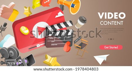 3D Vector Conceptual Illustration of Video Content Creating, Digital Video Advertising and Media Marketing