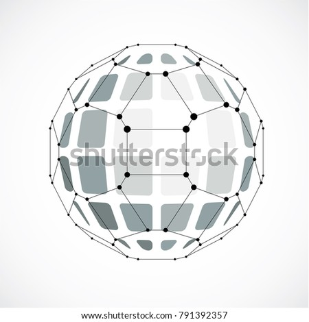3d vector digital wireframe spherical object made using facets. Geometric polygonal gray ball created with lines mesh and pentagons. Low poly shape, lattice form for use in web design.